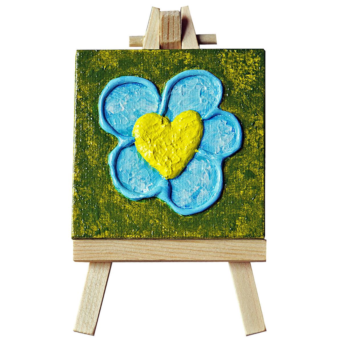 Flowheart - mini-toile sur chevalet