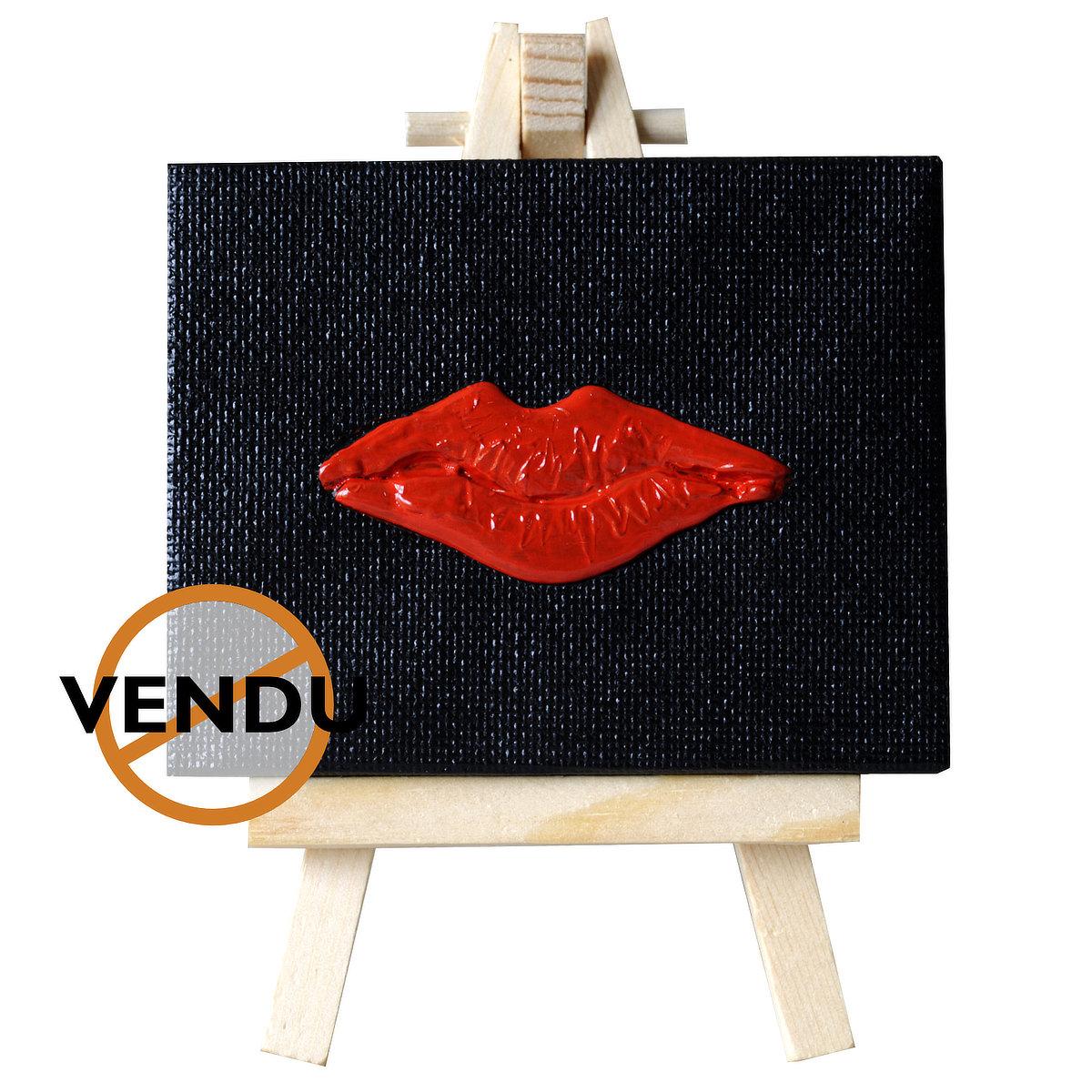 Kiss-me-miss-you - mini-toile sur chevalet