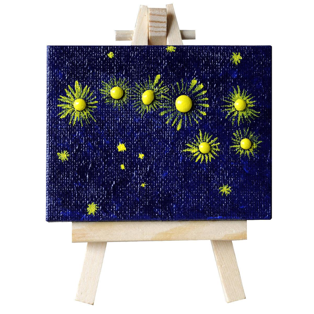 Mystarry night - mini-toile sur chevalet