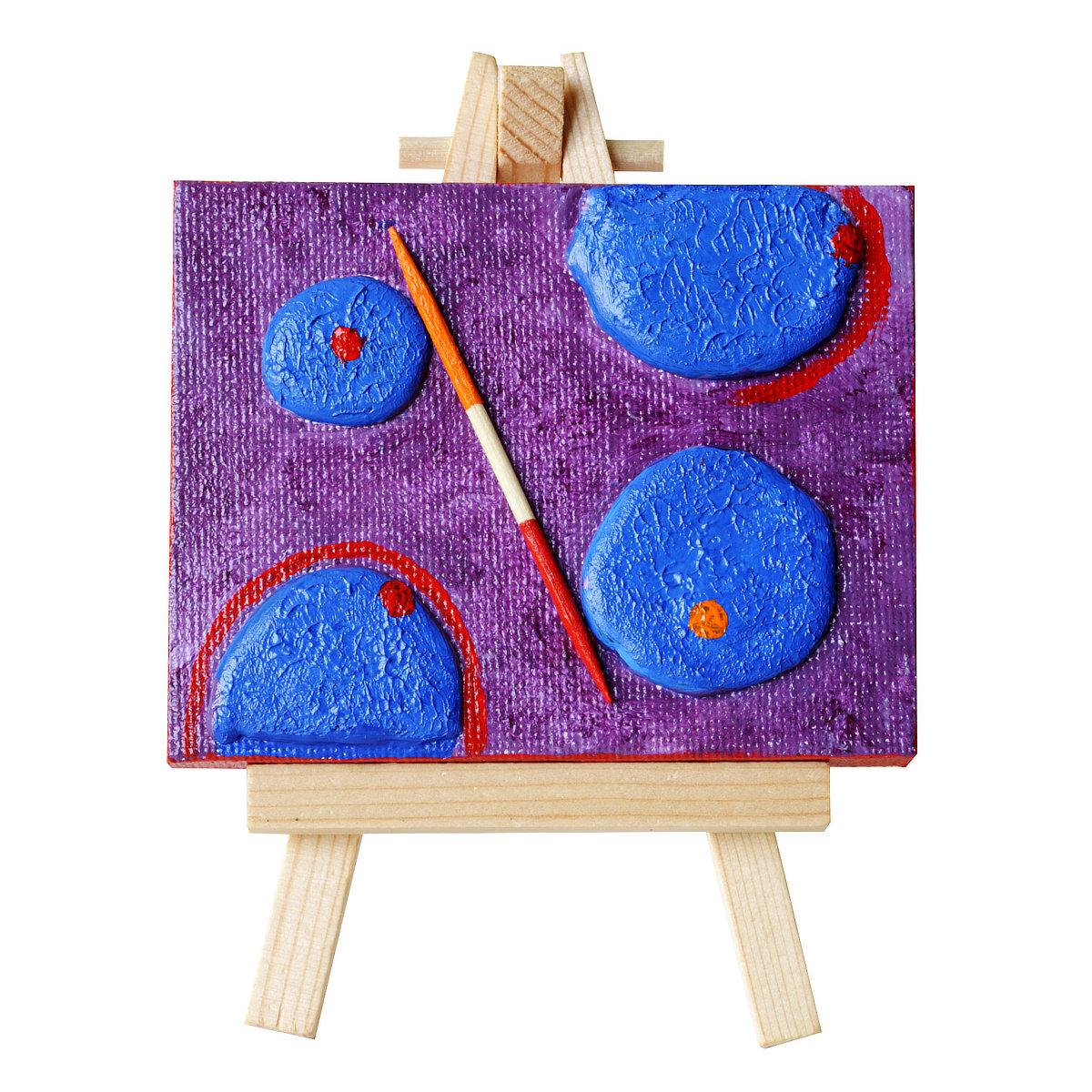 Blue Anec'dots - mini-toile sur chevalet