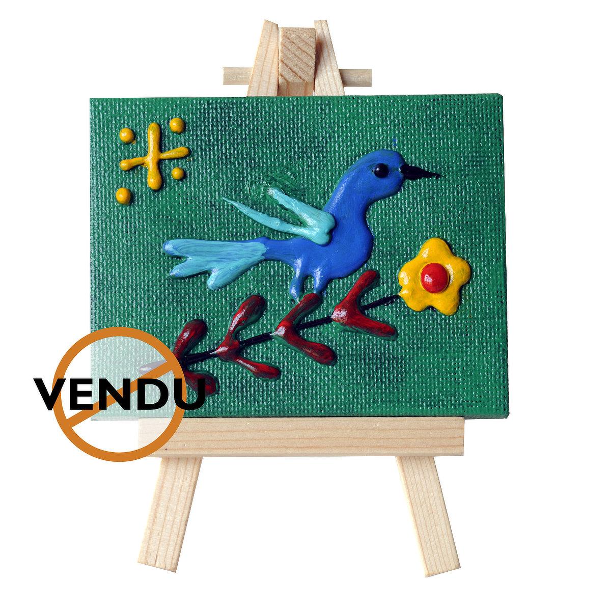Bluebird - mini-toile sur chevalet