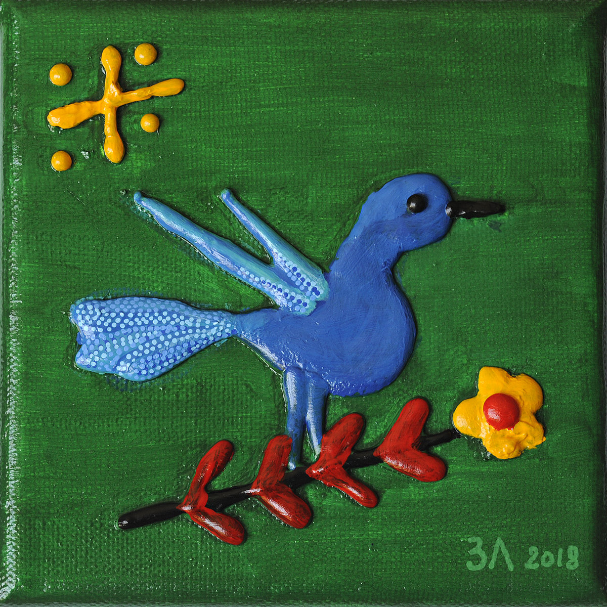 Oiseau bleu - mini acrylique sur toile