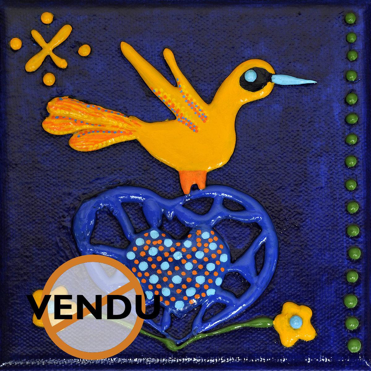 Heart Bird - mini acrylique sur toile