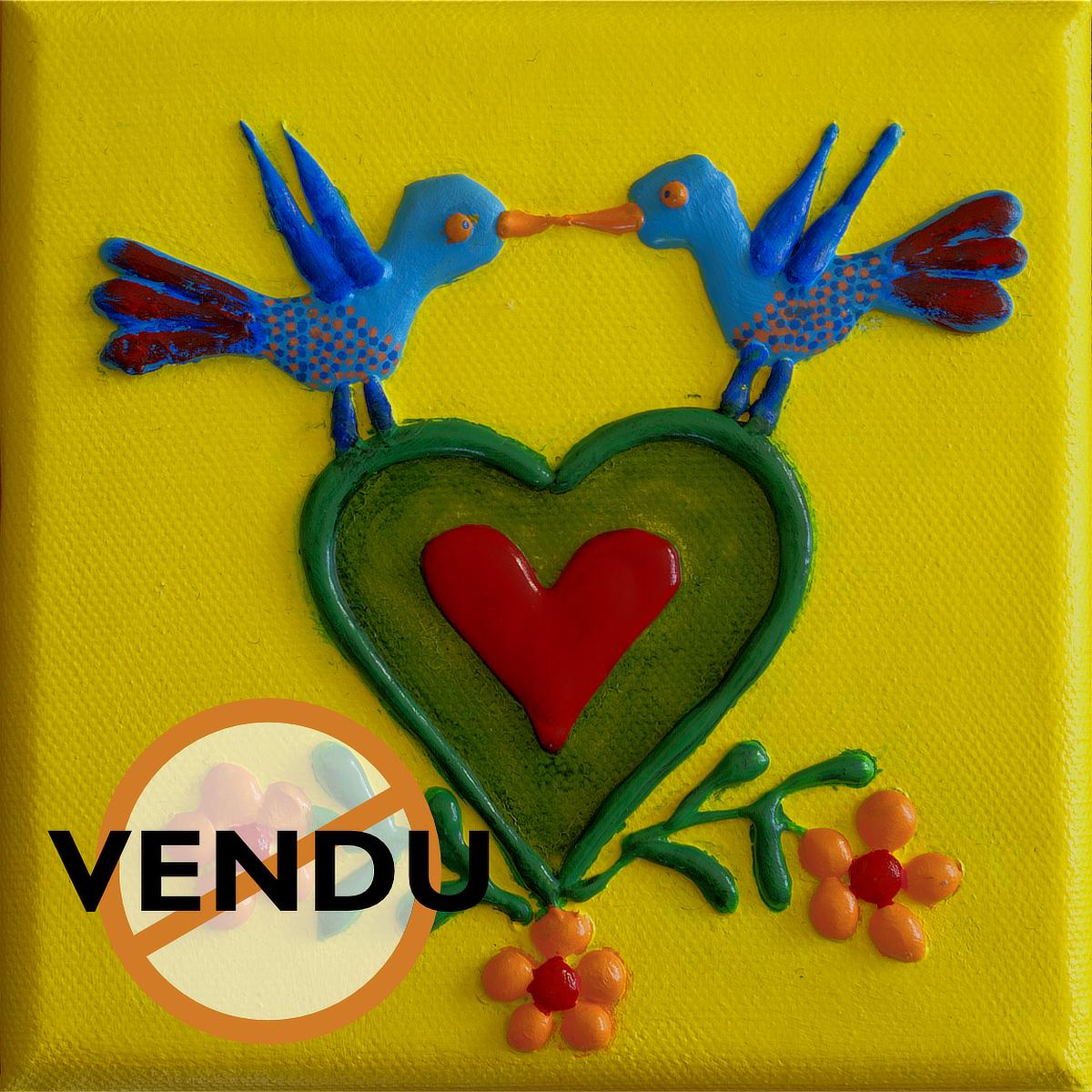 Oiseaux bleus et cœur - mini acrylique sur toile
