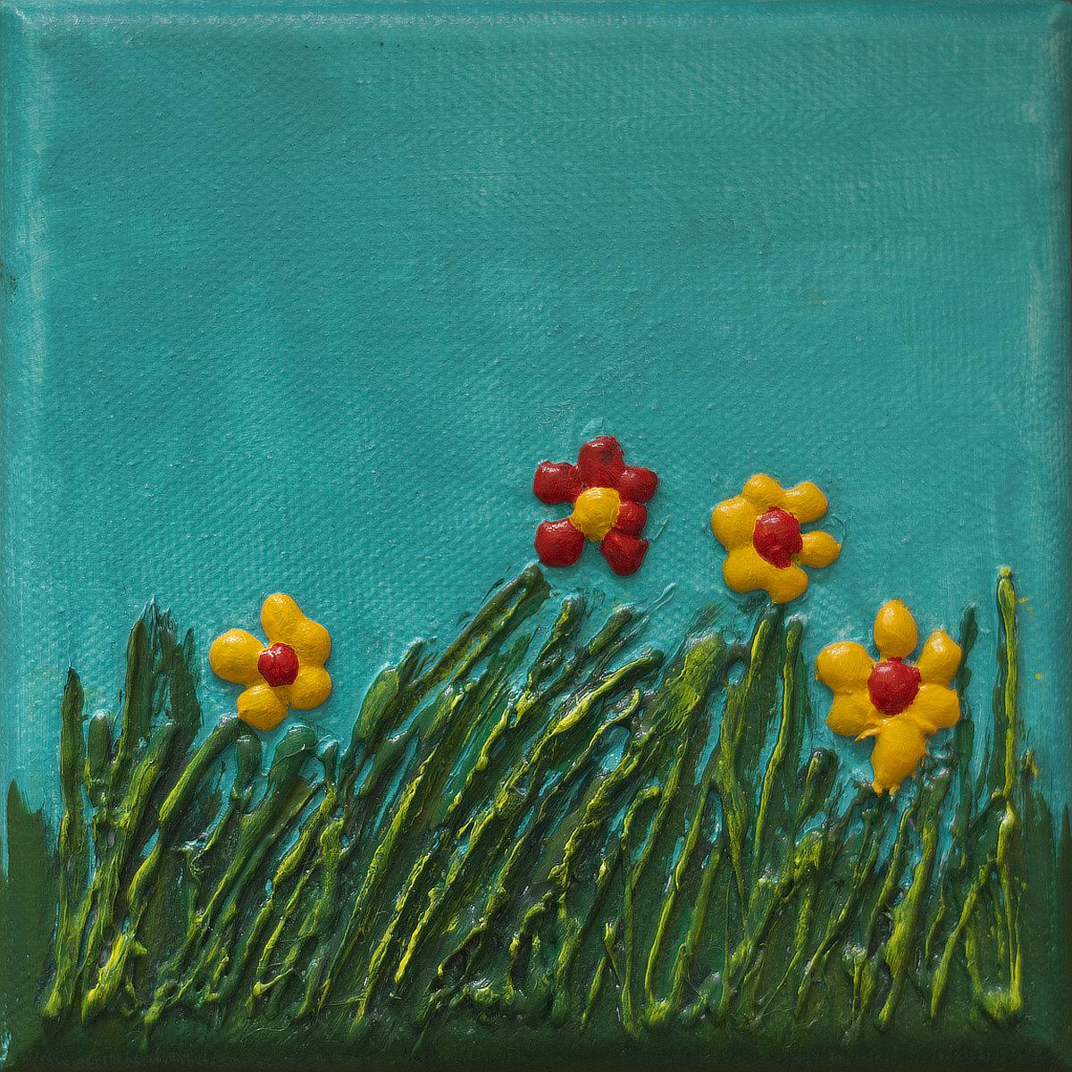 Fleurs des champs - mini acrylique sur toile