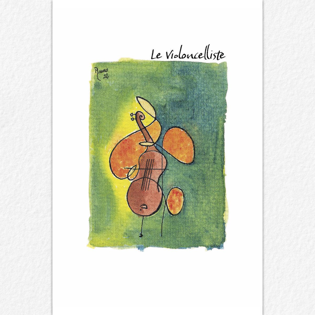 Le Violoncelliste - carte postale