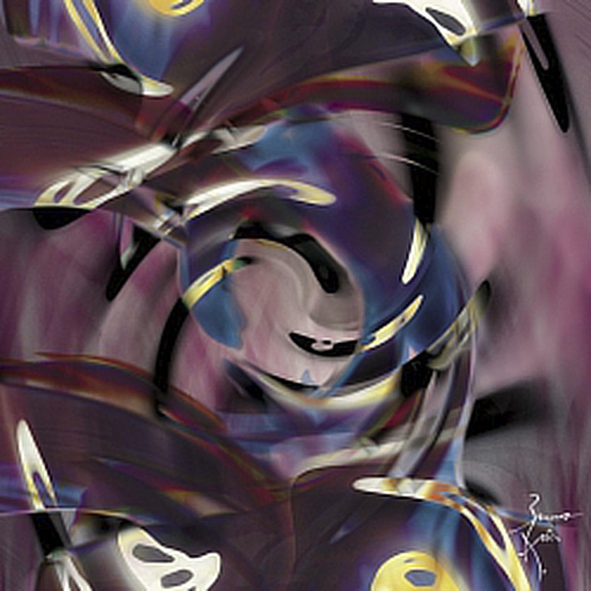 Peinture numérique Lentilles gravitationnelles. Série Chronoschromaties.