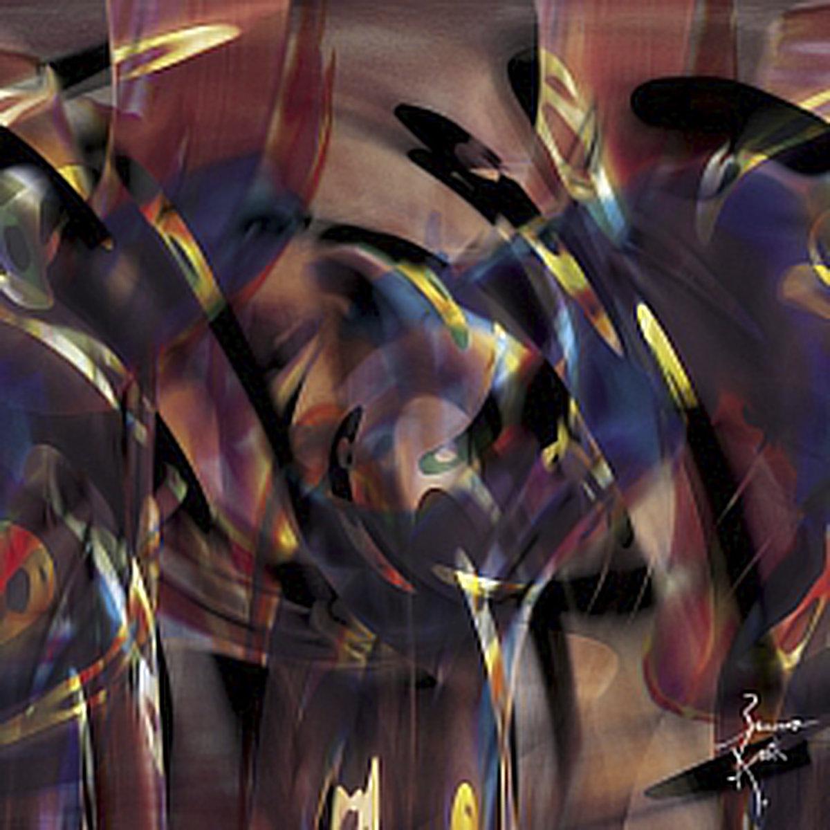 Peinture numérique Énergie noire. Série Chronoschromaties.