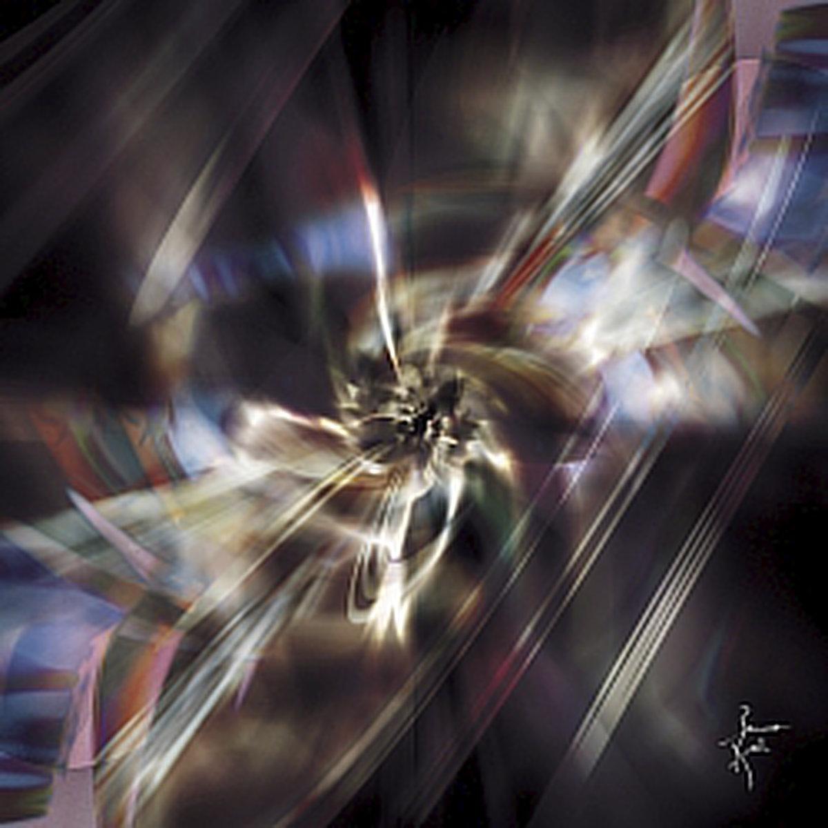 Peinture numérique Tempête cosmique. Série Chronoschromaties.