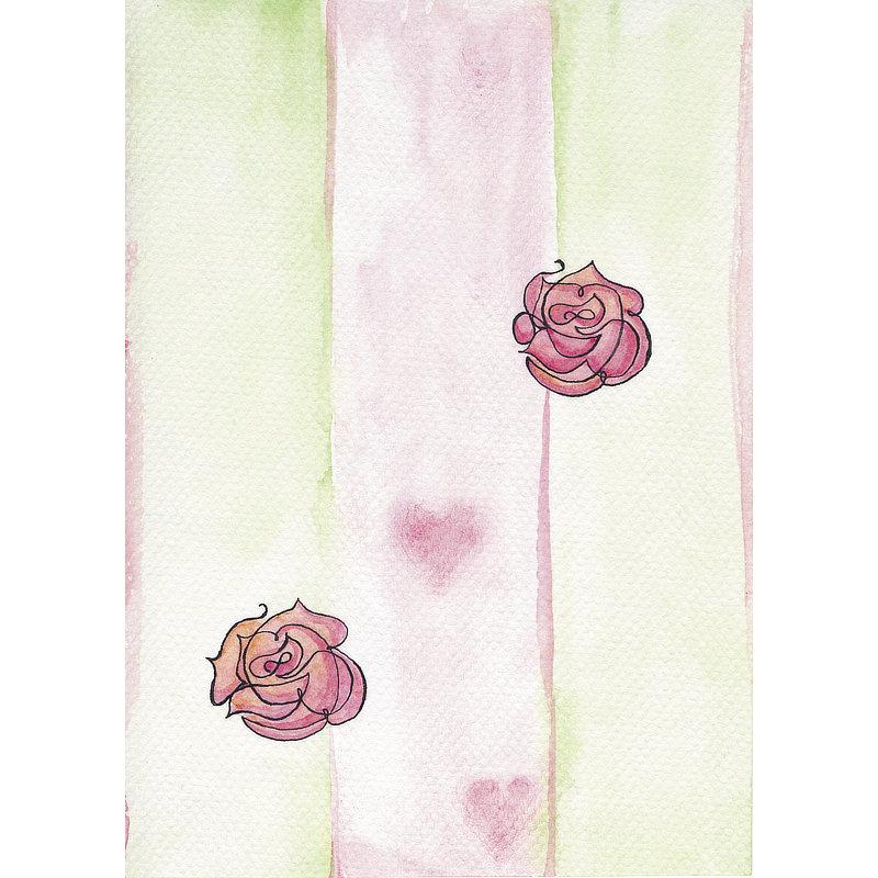 Aquarelle En vert et roses.