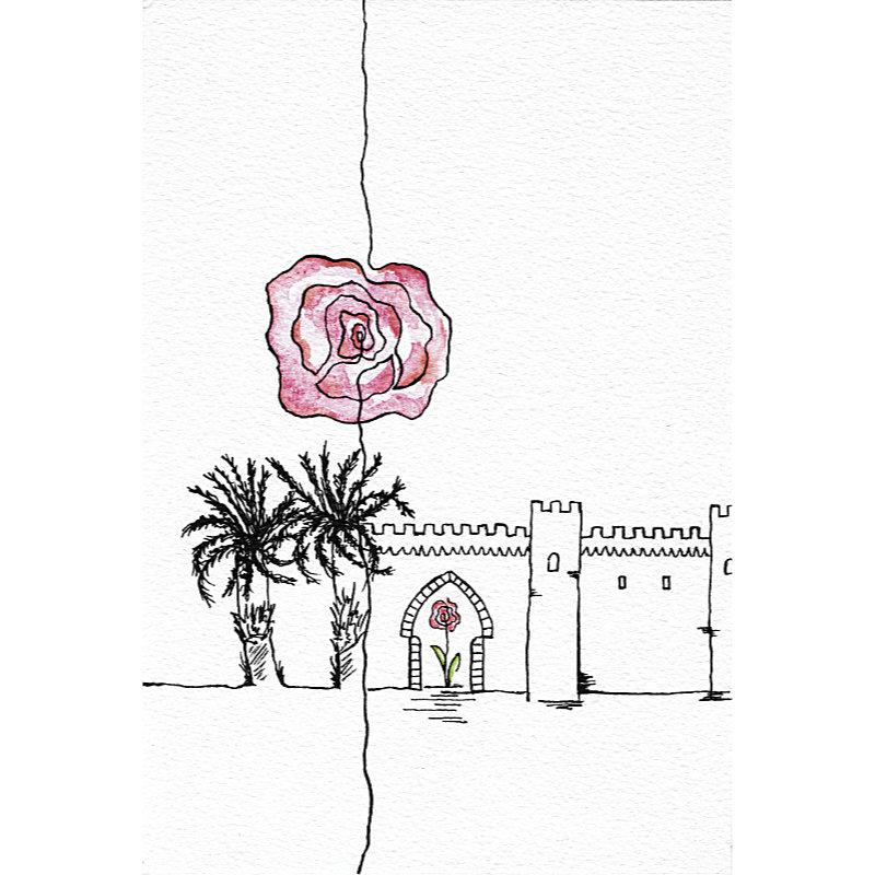 Aquarelle Ma Rose de Meknès.
