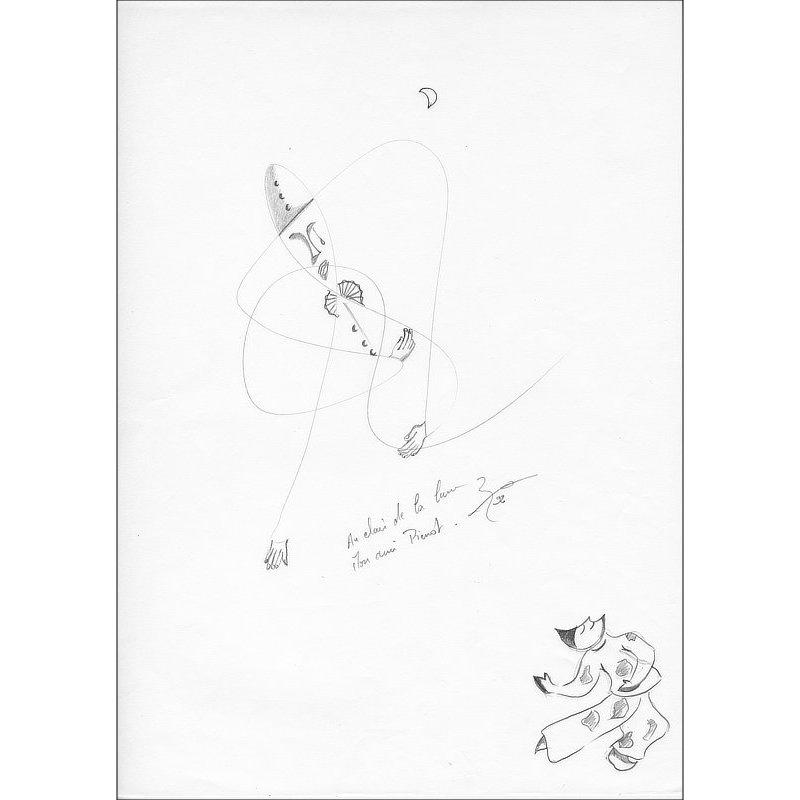 Pencil-drawn drawing Pierrot 3 mains.