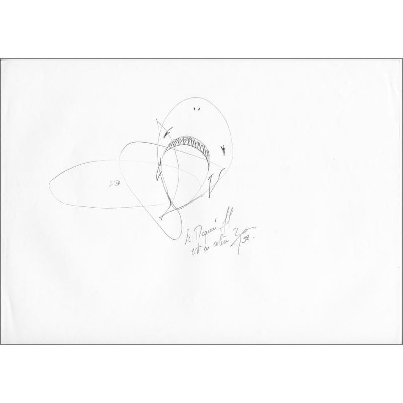 Pencil-drawn drawing Le requin fil.