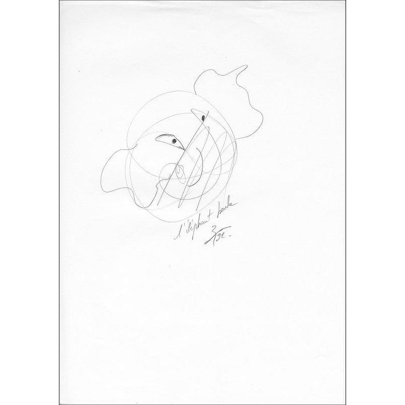 Pencil-drawn drawing L'éléphant boule.